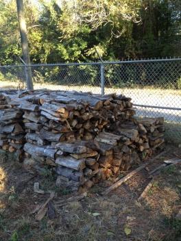 Firewood stacks at yard